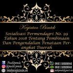 Jadwal Bimtek Permendagri No 99 Tahun 2018